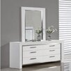 Whiteline Imports Ibiza 6 Drawer Dresser with Mirror