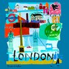 GreenBox Art Tour London by Susy Pilgrim Waters Painting Print on Wrapped Canvas