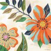 GreenBox Art Bold Floral Blue and Orange by Steve Haskamp Painting Print on Wrapped Canvas