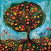 "GreenBox Art ""Pomegranate Tree"" by Eli Halpin Painting Print on Wrapped Canvas"