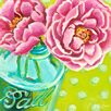 GreenBox Art 'Ball Jar Peonies' by Paula Prass Painting Print on Wrapped Canvas