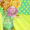 GreenBox Art Ball Jar Ranunculus Blooms by Paula Prass Painting Print on Wrapped Canvas