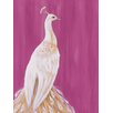GreenBox Art 'White Peacock on Raspberry' by Karin Grow Graphic Art on Canvas