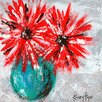 GreenBox Art 'Red Flowers on Gray' by Kasey Hope Painting Print on Canvas