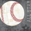 """GreenBox Art """"Baseball All Star"""" by Vicky Barone Graphic Art on Canvas in Gray"""