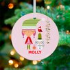 GreenBox Art Holiday Girl and Snowman Personalized Ornament by Suzy Ultman