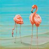 "GreenBox Art ""Flamingos On Vacation"" by Karin Grow Graphic Art on Canvas"