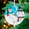 GreenBox Art Bright Patterned Snowman and Owl Personalized Ornament by Amy Blay