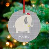 GreenBox Art Happy Elephant Personalized Ornament by Vicky Barone