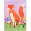GreenBox Art 'Fox in Flowers' by Melanie Mikecz Painting Print on Canvas