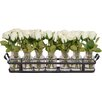 The French Bee 8 Piece Roses in Glass Bottles on Metal Rack Set
