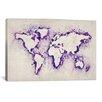 "iCanvas ""Map of the World (Purple) Paint Splashes"" Canvas Print Wall Art by Michael Thompsett"