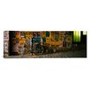 iCanvas Panoramic Bicycle Leaning against a Wall with Posters in an Alley, Post Alley, Seattle, Washington State Photographic Print on Canvas