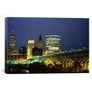 iCanvas Panoramic Bridge in a City Lit Up at Night, Detroit Avenue Bridge, Cleveland, Ohio Photographic Print on Canvas