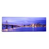 iCanvas Panoramic Bay Bridge Lit Up at Dusk San Francisco Bay, California Photographic Print on Canvas