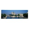 iCanvas Panoramic Cathedral along a River, Notre Dame Cathedral, Paris, France Photographic Print on Canvas