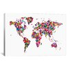 iCanvas 'Butterflies World Map' by Michael Tompsett Painting Print on Canvas