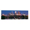 iCanvas Panoramic Buildings Lit Up At Night in a City, Minneapolis, Mississippi River, Hennepin County, Minnesota Photographic Print on Canvas