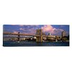 iCanvas Panoramic Boat in a River, Brooklyn Bridge, East River, New York City, New York State Photographic Print on Canvas