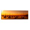 iCanvas Panoramic Boats Moored at a Harbor at Dusk, Chicago River, Chicago, Cook County, Illinois Photographic Print on Canvas