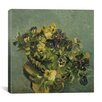 "iCanvas ""Basket of Pansies on a Small Table"" Canvas Wall Art by Vincent van Gogh"