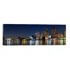 iCanvas Panoramic Buildings in a City Lit Up at Dusk, Detroit River, Detroit, Michigan Photographic Print on Canvas