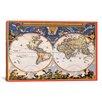 iCanvas Antique World Map - Nova Et Accuratissima Totius Terrarum Orbis Tabula (Blaeu, Joan 1664) Graphic Art on Canvas