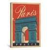 iCanvas 'Arc De Triomphe - Paris, France' by Anderson Design Group Vintage Advertisement on Canvas