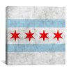 iCanvas Chicago Flag with Grunge Graphic Art on Canvas