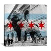 iCanvas Chicago Flag, Art Institute of Chicago with Small Grunge Graphic Art on Canvas