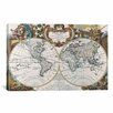 iCanvas Antique Double Hemisphere Map of The World Graphic Art on Canvas