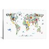 "iCanvas ""Animal Map of the World"" by Michael Tompsett Graphic Art on Canvas"
