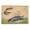 iCanvas 'Ando Hiroshige Horse Mackerel (Aji) with Shrimp of Prawn' by Utagawa Hiroshige l Graphic Art on Canvas