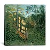 """iCanvas """"In a Tropical Forest Struggle between Tiger and Bull"""" Canvas Wall Art by Henri Rousseau"""
