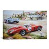 iCanvas Cars and Motorcycles Ferrari Vs. Mercedes Vintage Drawing Painting Print on Canvas