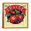 iCanvas Fraise Strawberries Vintage Crate Label Graphic Art on Canvas