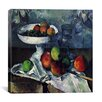 """iCanvas """"Compotier, Glass and Apples"""" Canvas Wall Art by Paul Cezanne"""