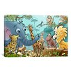 iCanvas Kids Children Jungle Cartoon Animals Canvas Wall Art