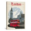 iCanvas 'Double Decker - London, England' by Anderson Design Group Vintage Advertisement on Canvas