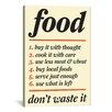 iCanvas Kitchen Don't Waste Food Graphic Art on Canvas