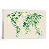 iCanvas 'Dinosaur Map of the World' by Michael Tompsett Graphic Art on Canvas