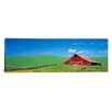 iCanvas Panoramic Red Barn with Horses Photographic Print on Canvas