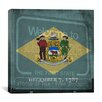 """iCanvas Delaware Flag, Grunge """"Welcome To"""" Sign Square Graphic Art on Canvas"""