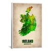 iCanvas 'Ireland Watercolor Map' by Naxart Graphic Art on Canvas