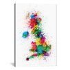 iCanvas 'Great Britain Uk Map Paint Splashes' bny Michael Tompsett Paintig Print on Canvas