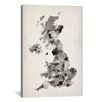iCanvas 'Great BritainUKWatercolorMap' by Michael Tompsett Graphic Art on Canvas