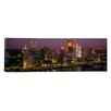 iCanvas Panoramic Buildings Lit Up at Night Pittsburgh, Pennsylvania Photographic Print on Canvas