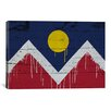 iCanvas Denver Flag, Wood Planks with Paint Drips Graphic Art on Canvas