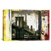 iCanvas 'Pont Brooklyn Pancarte' by Luz Graphics Photographic Print on Canvas