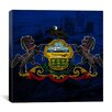 iCanvas Pennsylvania Flag Grunge City Skyline Philadelphia Graphic Art on Canvas